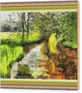 Expressionist Riverside Scene L B With Alt. Decorative Printed Frame.  Wood Print