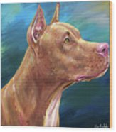 Expressive Painting Of A Red Nose Pit Bull On Blue Background Wood Print