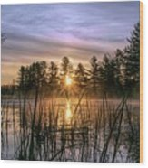 Exquisite Sunrise On The Androscoggin River 2 Wood Print