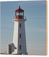 Exterior Of Peggys Cove Lighthouse, Nova Scotia, Canada Wood Print