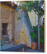 Exterior Wall Of Serra Chapel Mission San Juan Capistrano California Wood Print