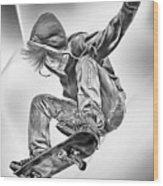 Extreme Skateboard Jump Wood Print by Julie L Hoddinott