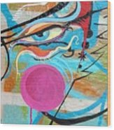 Eye In Blue Wood Print