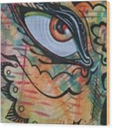 Eye In Orange Wood Print