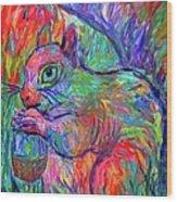 Eye Of The Squirrel Wood Print