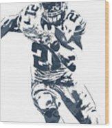 Ezekiel Elliott Dallas Cowboys Pixel Art 3 Wood Print