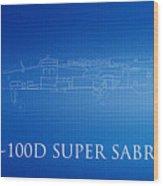 F-100d Super Sabre Blueprint Wood Print