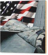 F-14 And Flag Wood Print