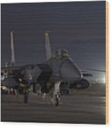 F-15e Leaving For A Night Mission Wood Print