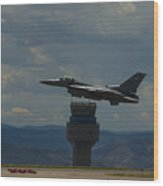 F-16 And Tower Wood Print