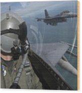 F-16 Fighting Falcons Flying Wood Print