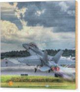 F-18 Hornet Takeoff Wood Print