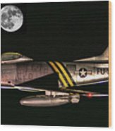 F-86 And The Moon Wood Print