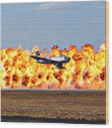F-86 Wall Of Fire Wood Print