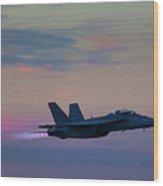 F/a -18 Super Hornet, Dusk, Afterburner Wood Print