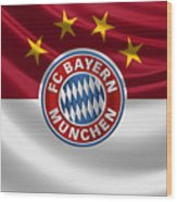 F C Bayern Munich - 3 D Badge Over Flag Wood Print