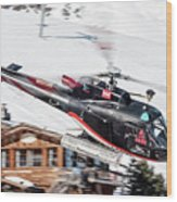 F-gsdg Eurocopter As350 Helicopter Courchevel Wood Print