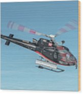F-gsdg Eurocopter As350 Helicopter In Blue Sky  Wood Print