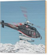 F-gsdg Eurocopter As350 Helicopter Over Mountain Wood Print
