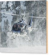 F-hana Eurocopter Ec-130 Landing Helicopter At Courchevel Wood Print