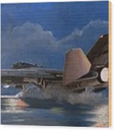 F14 Carrier Launch Wood Print