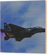 F15 Eagle In Afterburner Wood Print