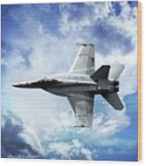 F18 Fighter Jet Wood Print by Aaron Berg