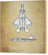 F22 Raptor Blueprint Wood Print
