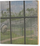 Prison Yard With Razor Wire, Guard House And Satellite Dish Wood Print