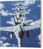Fa-18c Hornet Aircraft Fly In Formation Wood Print