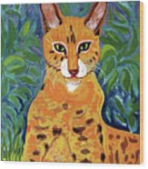 fabulous cat portrait in the style of Van Gogh's Wood Print
