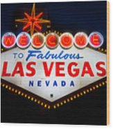 Fabulous Las Vegas Sign Wood Print