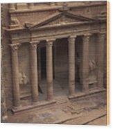 Facade Of The Treasury In Petra, Jordan Wood Print