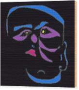 Face 1 On Black Wood Print