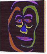 Face 5 On Black Wood Print