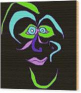 Face 6 On Black Wood Print