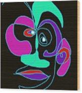 Face 7 On Black Wood Print