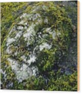 Face In The Stone Wood Print