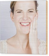 Face Of A Smiling Bride With Perfect Makeup Wood Print