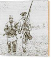Face Of Danger Soldier Sketch Wood Print