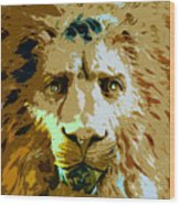 Face Of The Lion Wood Print