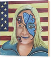 Face Paint And Freedom Wood Print