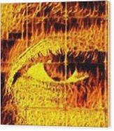 Face The Fire Wood Print