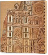 Faced Of Florence Cathedral  Wood Print