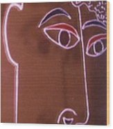 Faces And Alphabets Wood Print