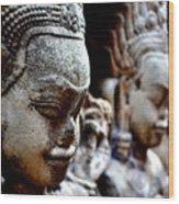 Faces Of Angkor Wood Print