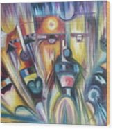 Facial Expression Colorful Wood Print