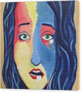 Facial Or Woman With Green Eyes Wood Print