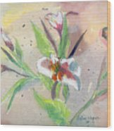 Faded Lilies Wood Print