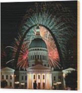 Fair St Louis Fireworks Wood Print